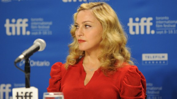 "Madonna was on her best behavior at the ""W.E."" news conference, seen here during the 2011 Toronto International Film Festival. But at the Venice Film Festival that same year, she was caught saying ""I absolutely loathe hydrangeas"" after a fan gave her the flowers."