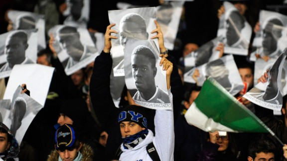 Balotelli has had to deal with racism throughout his career. As far back as 2009, when he played for Inter, he was racially abused by opposing Juventus fans. Here, Inter's fans hold up banners in support of the striker.