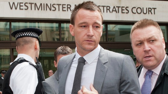 """Former England captain John Terry was found not guilty in a criminal court of racially abusing rival footballer Anton Ferdinand but was banned for four-matches by the Football Association. He accepted the charge, a £220,000 fine and apologized, saying: """"I accept that the language I used, regardless of the context, is not acceptable on the football field or indeed in any walk of life."""""""