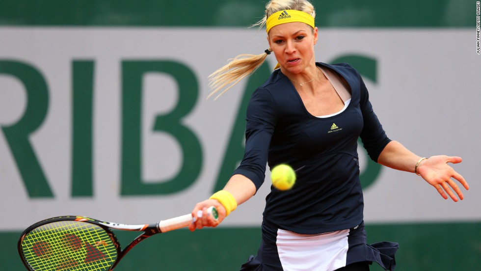 Maria Kirilenko of Russia plays a forehand against Ashleigh Barty of Australia on May 31. Kirilenko beat Barty 6-3, 6-1.