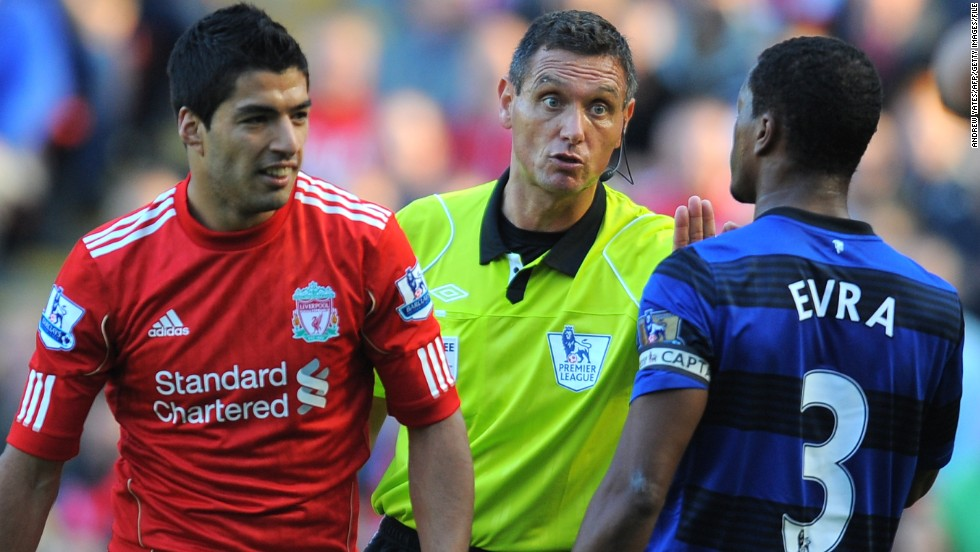 One of the most high-profile incidents in England saw Liverpool striker Luis Suarez banned for eight-matches for racially abusing Manchester United's Patrice Evra in October 2011. Prior to the teams' return fixture the following February, Suarez refused to shake Evra's hand. Suarez subsequently apologized.