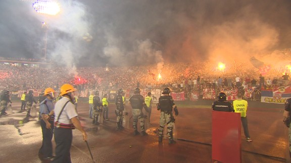 Serbian fans are renowned for creating an intimidating atmosphere, as CNN discovered at the Belgrade derby in May. Despite previous incidents, there was no hint of racism in the match, though the Serbian Football Association's technical director Savo Milosevic did reveal they have no program in place to tackle racism.