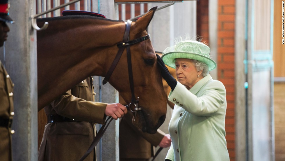 Her Majesty pets a horse she gave to the King's Troop.