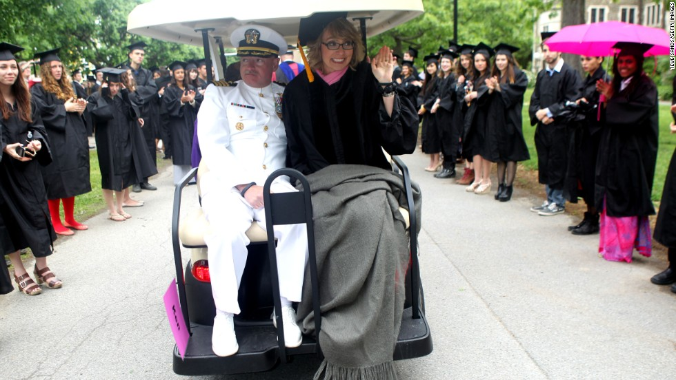 Capt. Mark Kelly and former U.S. congresswoman Gabrielle Giffords attend Bard College's commencement on May 25, in Annandale-on-Hudson, New York.