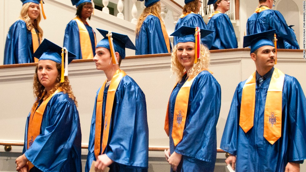 Graduates line up to receive diplomas at the College of Central Florida's graduation held at the First Baptist Church of Ocala on May 6, in Ocala, Florida.