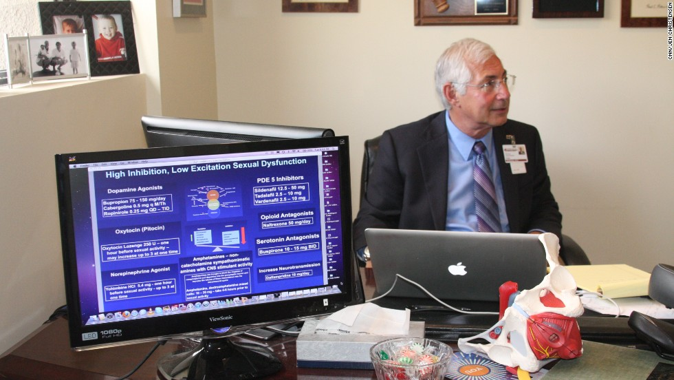 Goldstein in his office at San Diego Sexual Medicine. He uses the screen to emphasize what he is telling patients.