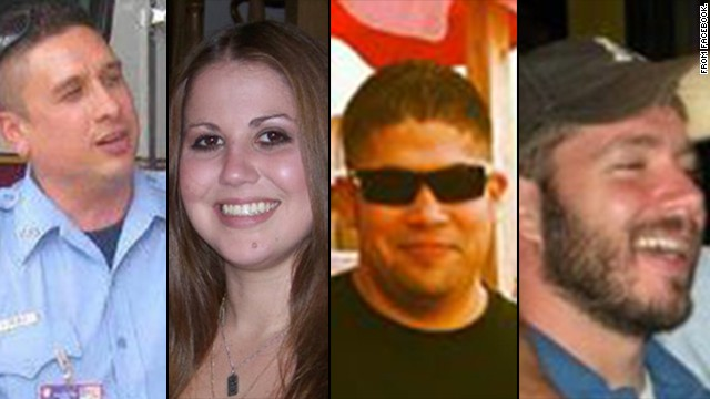 From left to right, Houston firefighters Robert Bebee, Anne Sullivan, Matthew Renaud and Robert Garner were killed in a restaurant fire on Friday, May 31.