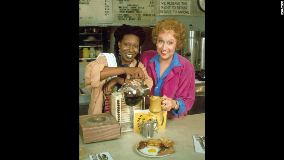 "Stapleton appears along side Whoopi Goldberg on the CBS television program ""Bagdad Cafe"" in 1990."