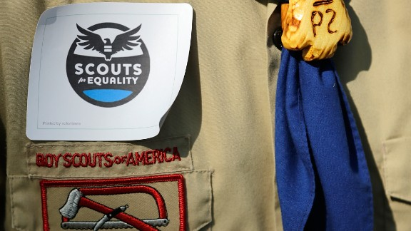 WASHINGTON, DC - MAY 22: Members of Scouts for Equality hold a rally to call for equality and inclusion for gays in the Boy Scouts of America as part of the 'Scouts for Equality Day of Action' May 22, 2013 in Washington, DC. The Boy Scouts of America is scheduled to hold a two day meeting tomorrow with 1,400 local adult leaders to consider changing its policy of barring openly gay teens from participating in the Boy Scouts. (Photo by Win McNamee/Getty Images)