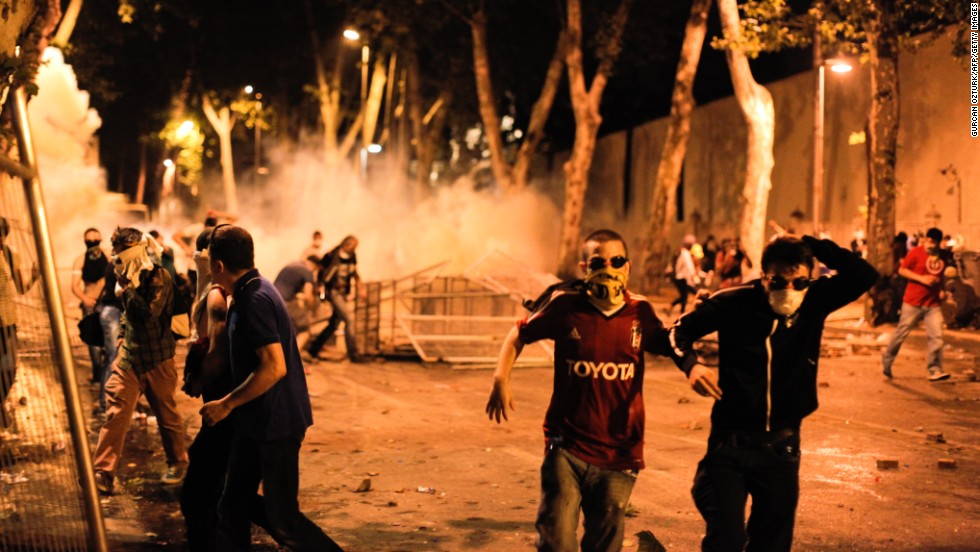 Protesters clash with riot police in Istanbul, Turkey, on Saturday, June 1.