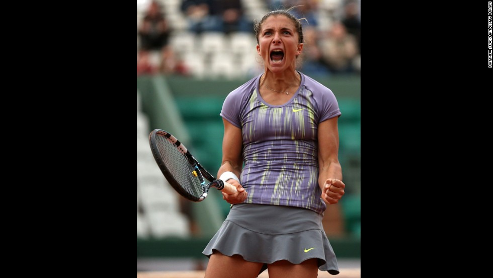 Sara Errani of Italy celebrates match point in her match against Carla Suarez Navarro of Spain on June 2. Errani won 5-7, 6-4, 6-3.