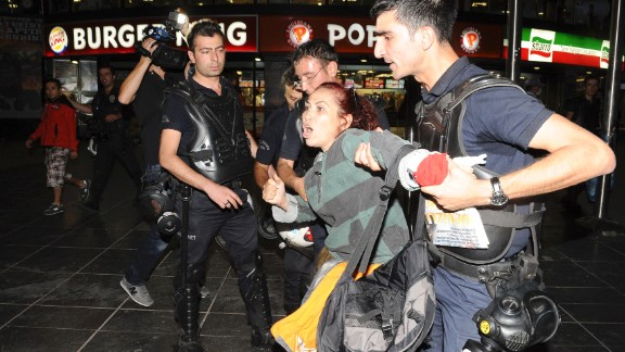 Turkish police detain a protester during demonstrations in Ankara on June 2.