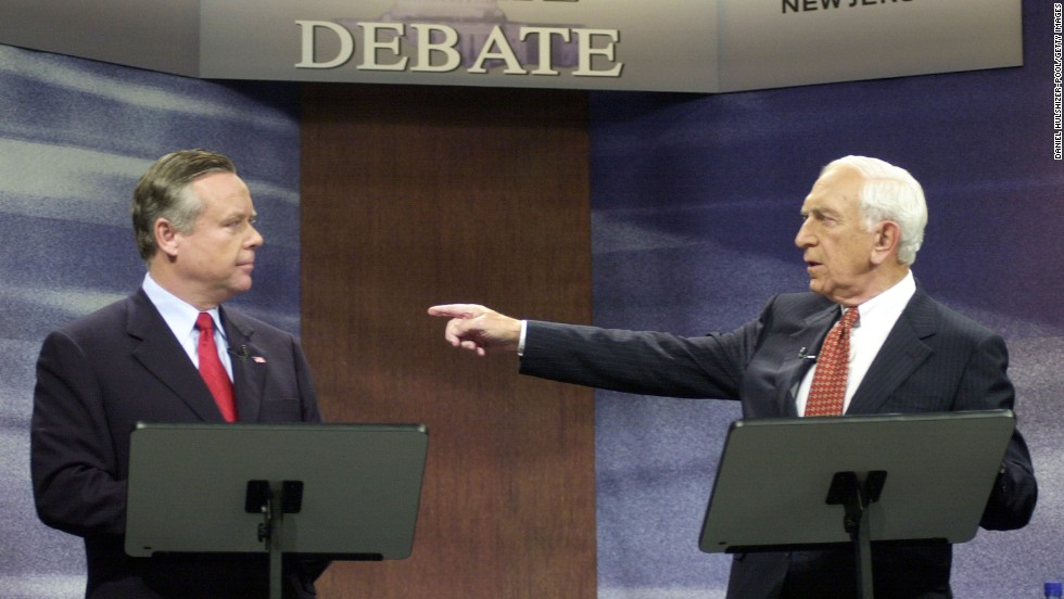 Senate candidate Frank Lautenberg, right, debates with Republican candidate Douglas Forrester at News12 New Jersey television studios October 30, 2002, in Edison, New Jersey.