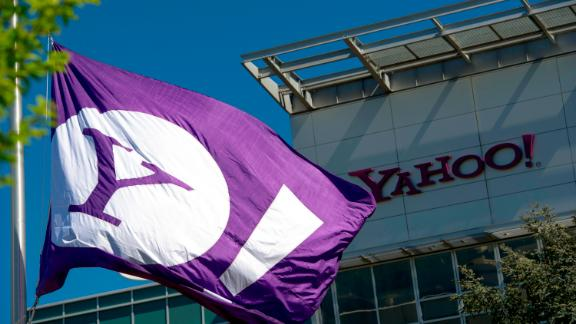 The Yahoo logo is displayed on a flag flying at the company