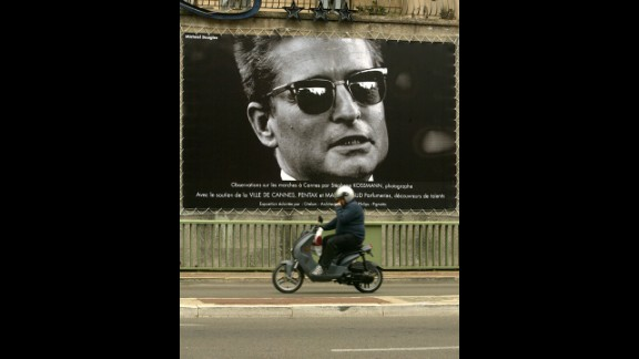 A poster of the actor is pictured on the opening day of the 2004 International Cannes Film Festival in France.