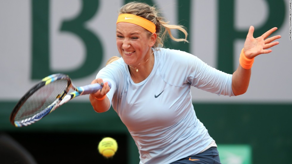 Victoria Azarenka of Belarus returns a forehand in her match against Francesca Schiavone of Italy on June 3. Azarenka defeated Schiavone 6-3, 6-0.