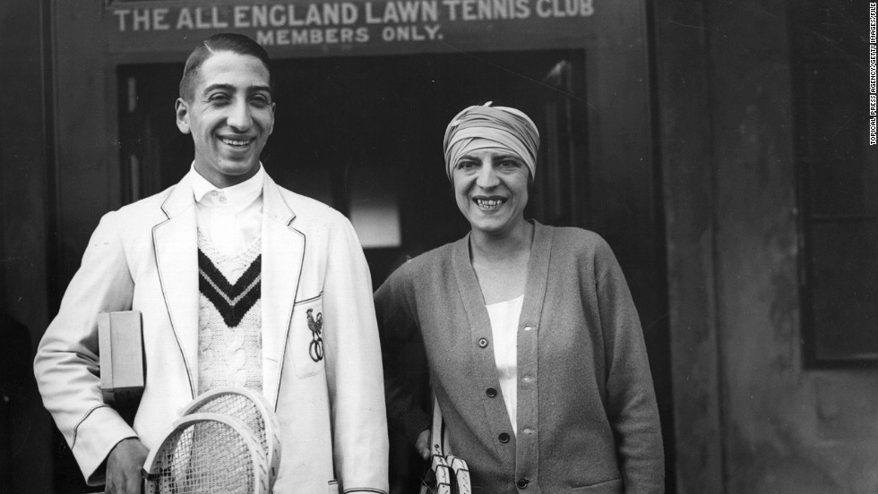 Lenglen is pictured here with fellow French tennis star Rene Lacoste, who went on to launch his own fashion house.