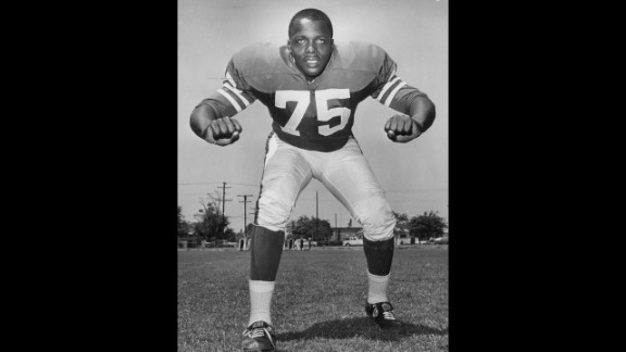 """David """"Deacon"""" Jones, credited with coining the term """"sacking the quarterback"""" during his stint as one of the NFL's greatest defensive ends, died of natural causes at his Southern California home, the Washington Redskins said Monday, June 3. He was 74. Here, the Los Angeles Rams Hall of Fame defensive end appears in the early 1960s."""
