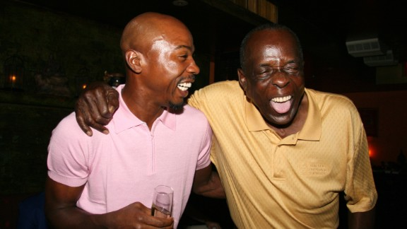 Jones, right, with ex-basketball player Greg Anthony at a 2006 charity event in New York. In later years, Jones was a radio host and a spokesman for the blood pressure drug Atacand, and he started the Deacon Jones Foundation to mentor inner-city high school students.