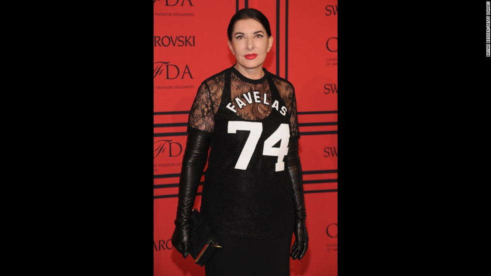 "Like any high-profile awards show, the CFDA Fashion Awards draws a mix of celebrities, entertainers and artists. Performance artist Marina Abromovic showed up wearing a <a href=""http://nymag.com/thecut/2013/06/marina-abramovic-loves-face-lasers-james-franco.html"" target=""_blank"">Givenchy athletic jersey</a>."