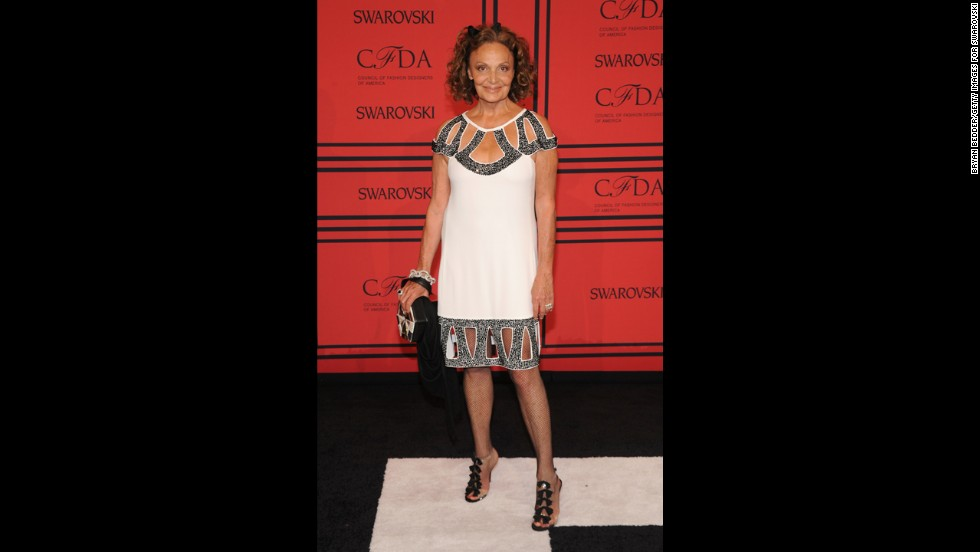 "Designer <a href=""http://cfda.com/members#!diane-von-furstenberg"" target=""_blank"">Diane von Furstenberg</a>, originator of the iconic wrap dress, arrives on the red carpet. She won the CFDA Lifetime Achievement Award in 2005 and was elected the CFDA's president one year later, a post she still hold."