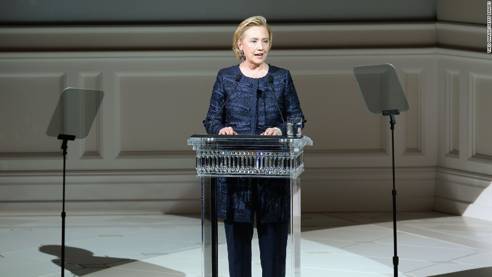 "Former Secretary of State Hillary Rodham Clinton takes the podium to introduce <a href=""http://cfda.com/members#!oscar-de-la-renta"" target=""_blank"">Oscar de la Renta</a>, winner of this year's Founder's Award. <a href=""http://nymag.com/thecut/2013/06/oscar-de-la-renta-hillary-clinton-cfda-henry-kissinger.html"" target=""_blank"">Rumor has it</a> they both snuck out early to attend Henry Kissinger's 90th birthday party."