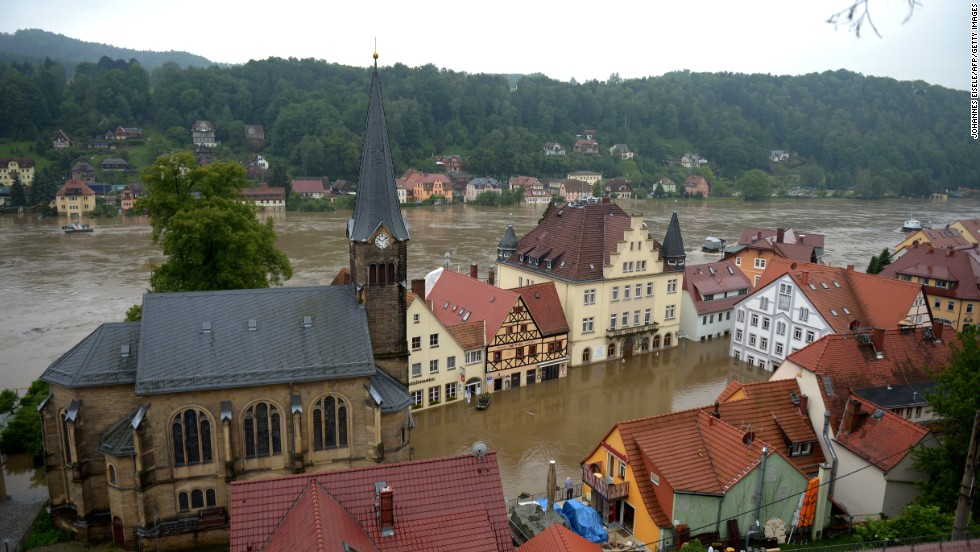 Torrential rains leave Wehlen, Germany, flooded on June 4.
