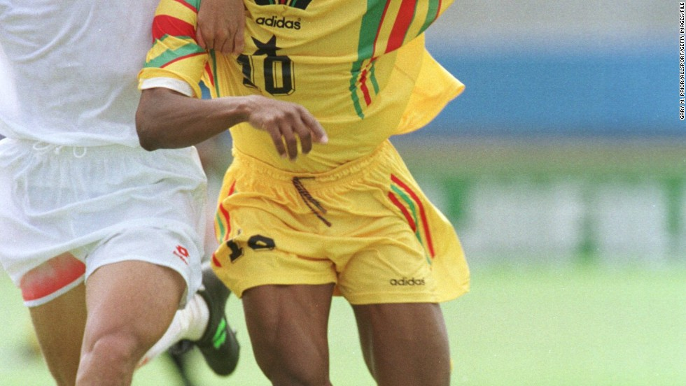 He was also captain of Ghana's national team for six years. Overall, during his 16-year career with the Black Stars, he scored 33 goals in 67 appearances and played in a record five Africa Cup of Nations.