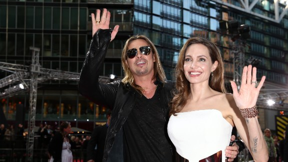 "Angelina Jolie attends a June 2013 premiere of her fiance Brad Pitt's movie, ""World War Z."""