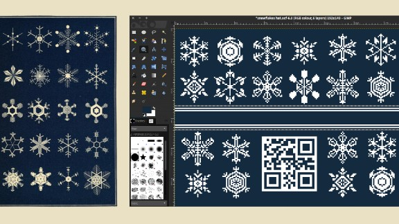 The open-source pattern for a scarf draws on public domain snowflake images.