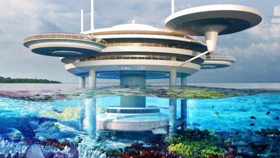 The brainchild of Polish designers Deep Ocean Technology (DOT), the futuristic building features saucer-like lounges connected to 21 underwater bedrooms.
