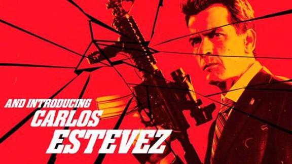 "Charlie Sheen, here billed as Carlos Estevez, in this screen grab from Robert Rodriguez's upcoming film, ""Machete Kills."""