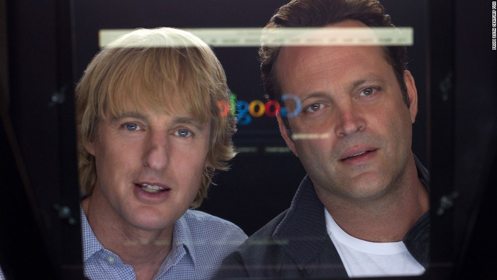 "Owen Wilson, left, and Vince Vaughn star in ""The Internship,"" about two fortysomething men trying to land jobs at Google. The movie, which opens Friday, was made in cooperation with the giant tech company, although Google had no authority over its final cut."