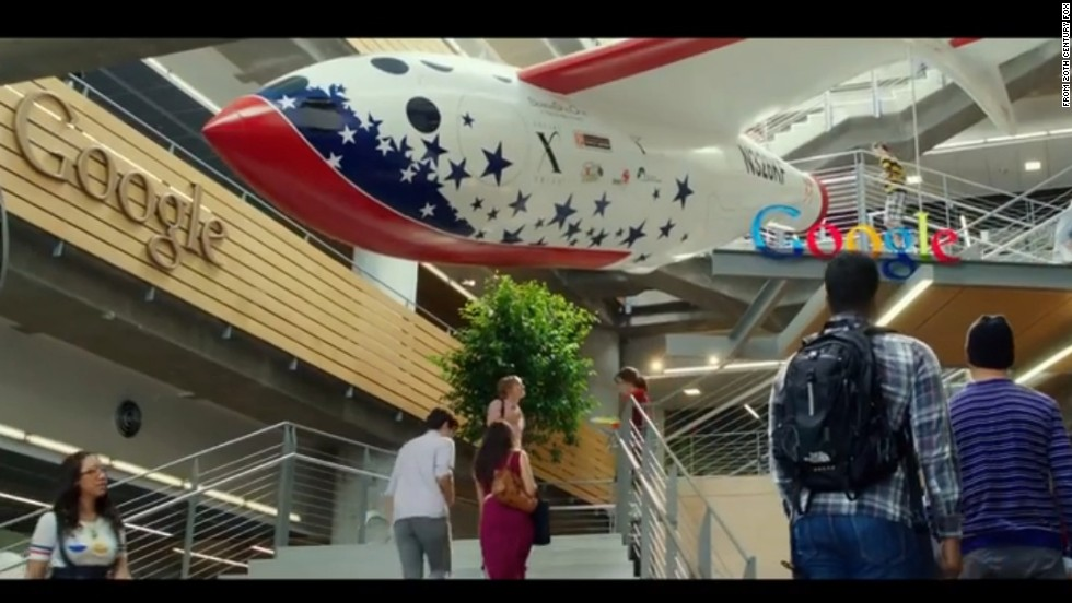 "In this scene from a trailer for ""The Internship,"" Clough Commons has been transformed into a Google office building, complete with a rocket hanging from the ceiling."