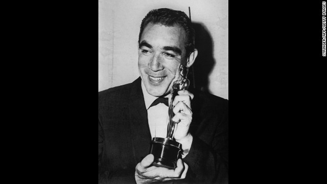 Anthony Quinn winning an Academy Award in 1957.