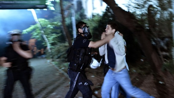 Turkish police detain a demonstrator during clashes in Istanbul on June 4.