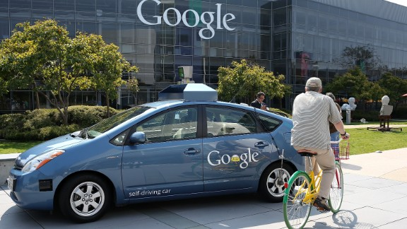 """Google's experimental self-driving cars, shown here at Google in September 2012, make a cameo in """"The Internship."""" But a scene in which a driverless car crashes was cut from the movie."""