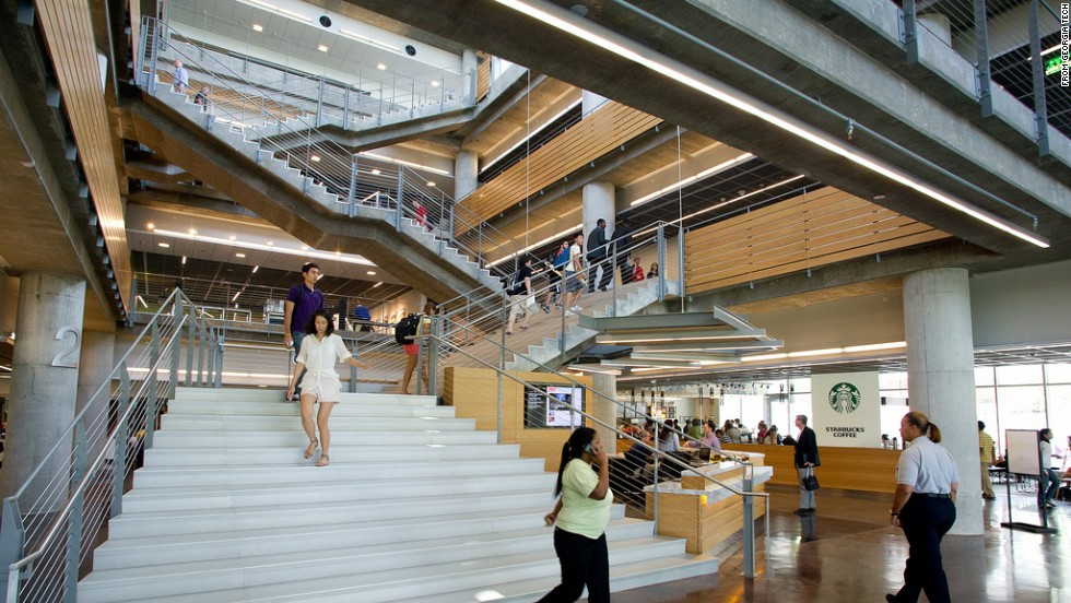 The airy, modern design of Georgia Tech's Clough Undergraduate Learning Commons appealed to the movie's location scouts, who chose it to represent Google's headquarters in many scenes.