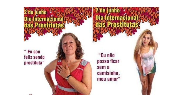 """Poster from the campaign for the International Day of Prostitutes features the phrase """"I am happy being a prostitute."""""""