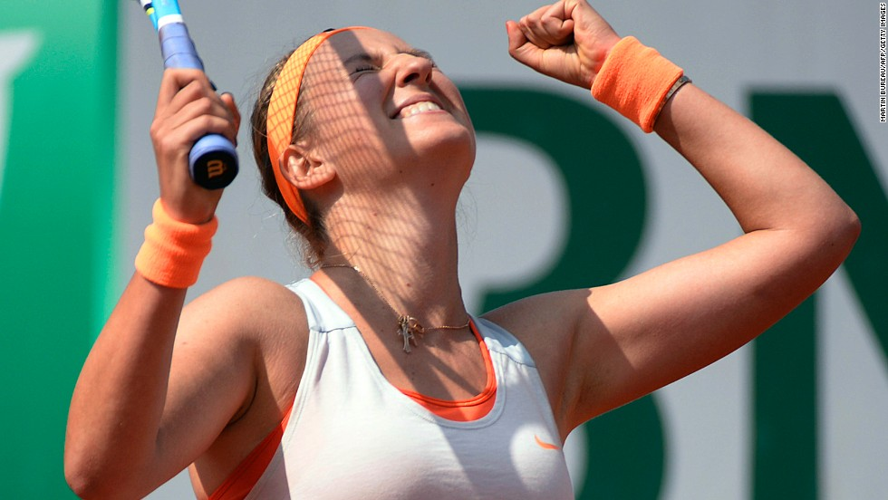 Azarenka celebrates after defeating Kirilenko.