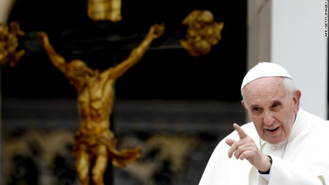 Pope Francis gestures on June 5, 2013 at the end of his weekly general audience on St Peter's square at the Vatican. AFP PHOTO / FILIPPO MONTEFORTEFILIPPO MONTEFORTE/AFP/Getty Images