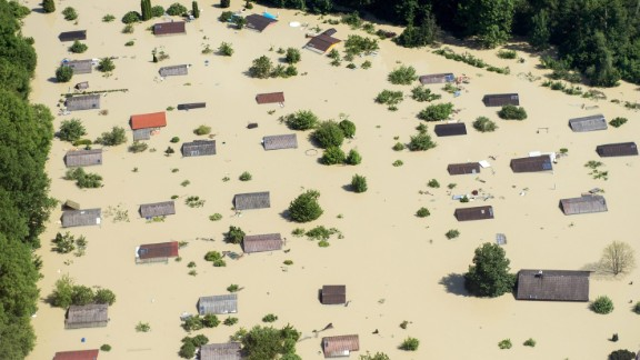 A neighborhood submerged in the River Danube in Straubing, Germany, on June 5.