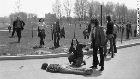 Four students were killed when Ohio National Guard troops fired at demonstrators at Kent State.