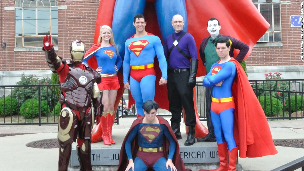 Metropolis' official Superman, Josh Boultinghouse, (back row, center) poses with winners of the 2012 costume contest, part of the town's annual Superman Celebration. This year the event takes place from June 6-9.