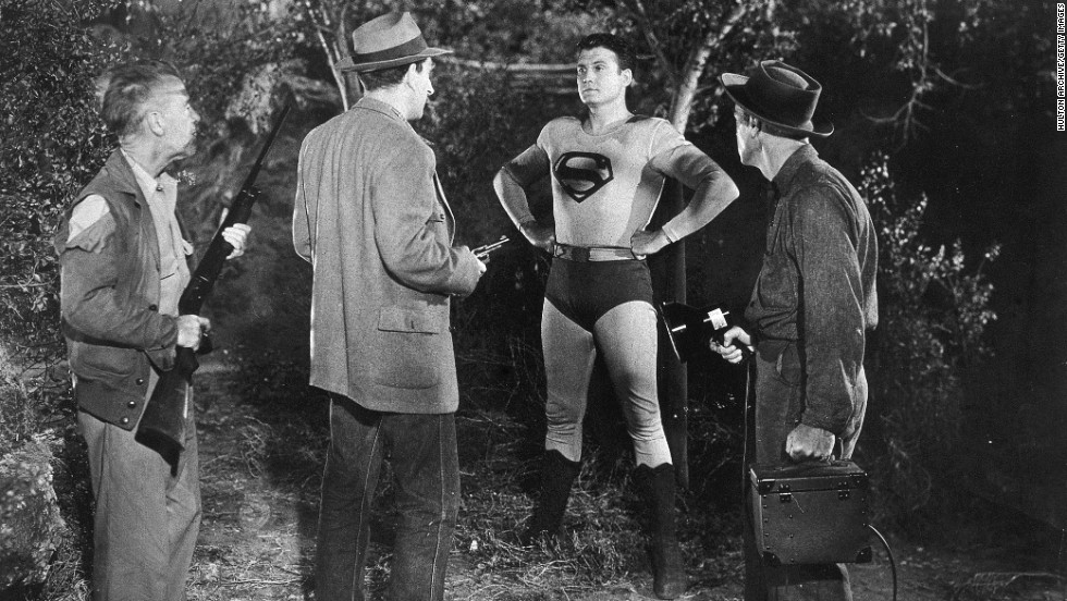 "Reeves continues to play Superman in the 1950s syndicated television series ""Adventures of Superman."""
