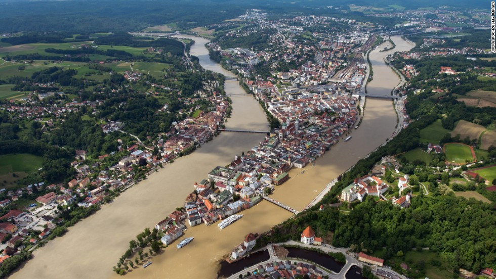 The Inn, left, and Danube rivers flood parts of the historic city of Passau, Germany, on Thursday, June 6.
