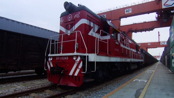 """Bustling freight trains like this 41-carriage vehicle are a common site along the Chongqing to Duisburg rail route -- a modern """"Silk Road"""" carrying goods from Asia to Europe and back again."""
