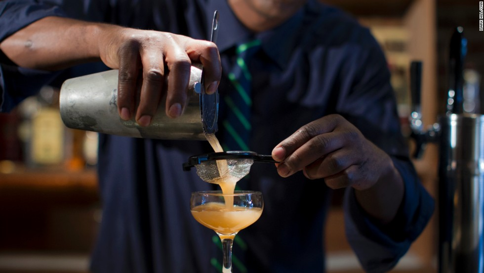 Double strain into a chilled coupe. (Double straining, while not necessary, reduces the amount of ice chips, making for a cleaner presentation.)