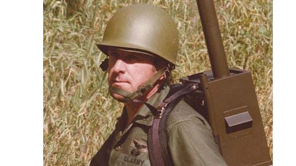 The original 'Manpack' GPS, modeled by the GPS program's army deputy, Paul Weber. The pack weighed about 40 pounds and cost over $400,000. Today GPS units are smaller than a fingernail and cost $1.50