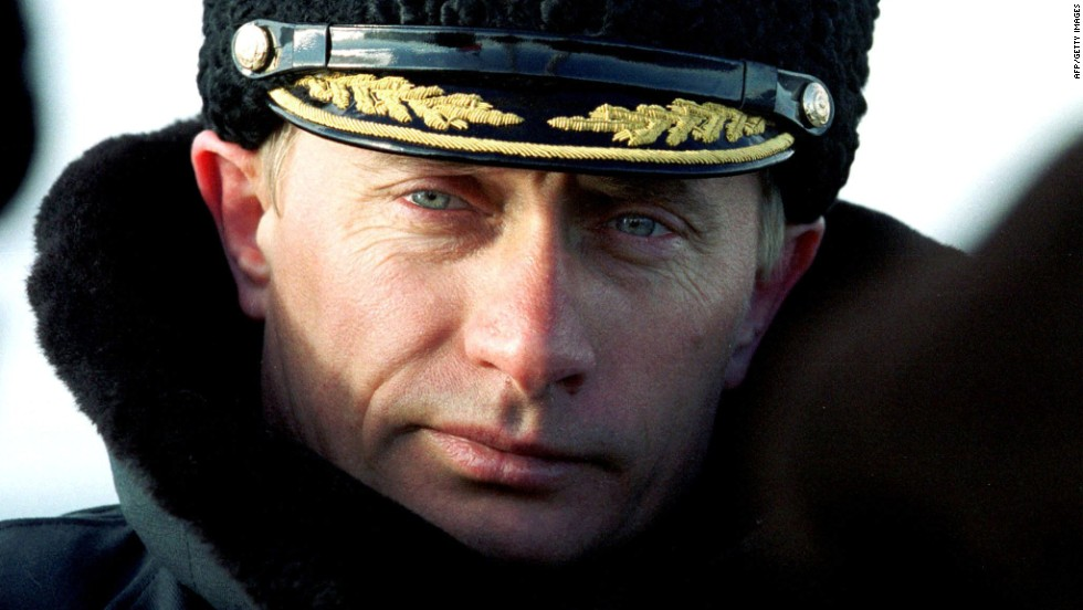 President-elect Putin watches the tactical exercises of Russia's Northern Fleet in the Barentsevo Sea in April 2000.